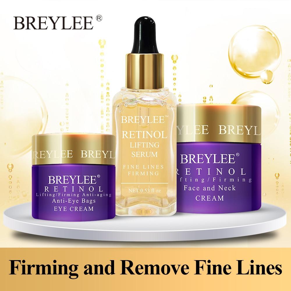 BREYLEE Retinol Set Anti Aging Firming Facial Serum Eye Cream Face Cream Remove Fine Line Wrinkle Tighten Skin Care Moisturizing