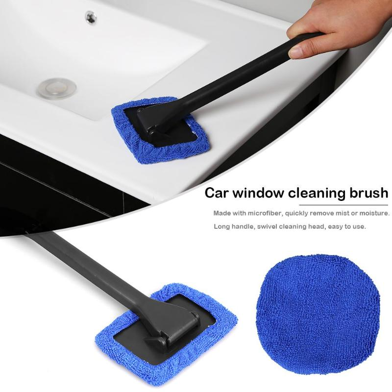 1Pcs Microfiber Car Detailing Windshield Brush Detachable Handle Car Cleaning Brush With Cloth Pad Car Wash Detailing Brush