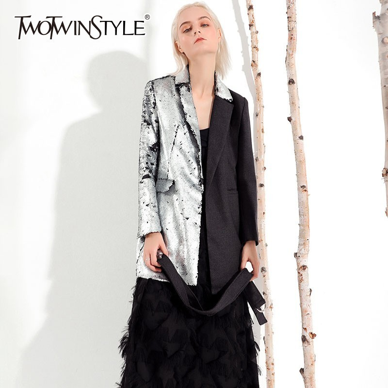 TWOTWINSTYLE Heavy Sequins Women's Suit Long Sleeve Bandage Patchwork Hit Colors Blazer Coat Female Casual Fashion 2019 Autumn