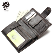 New special retro practical Oil waxing leather wallet cowhide genuine thickening vintage men mens purse