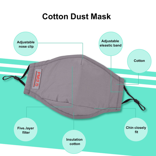 3pcs/1pc Washable Face Mouth Mask Anti Dust Mask PM2.5 Filter Windproof Mouth-muffle Bacteria Proof Flu Face Masks Care Reusable 4