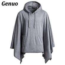 Genuo Casual Hip Hop Men Cape Coat Hoodies Irregular Hem Hooded Sweatshirt Poncho Cloak Male Hoody Jackets Plus Size 2XL
