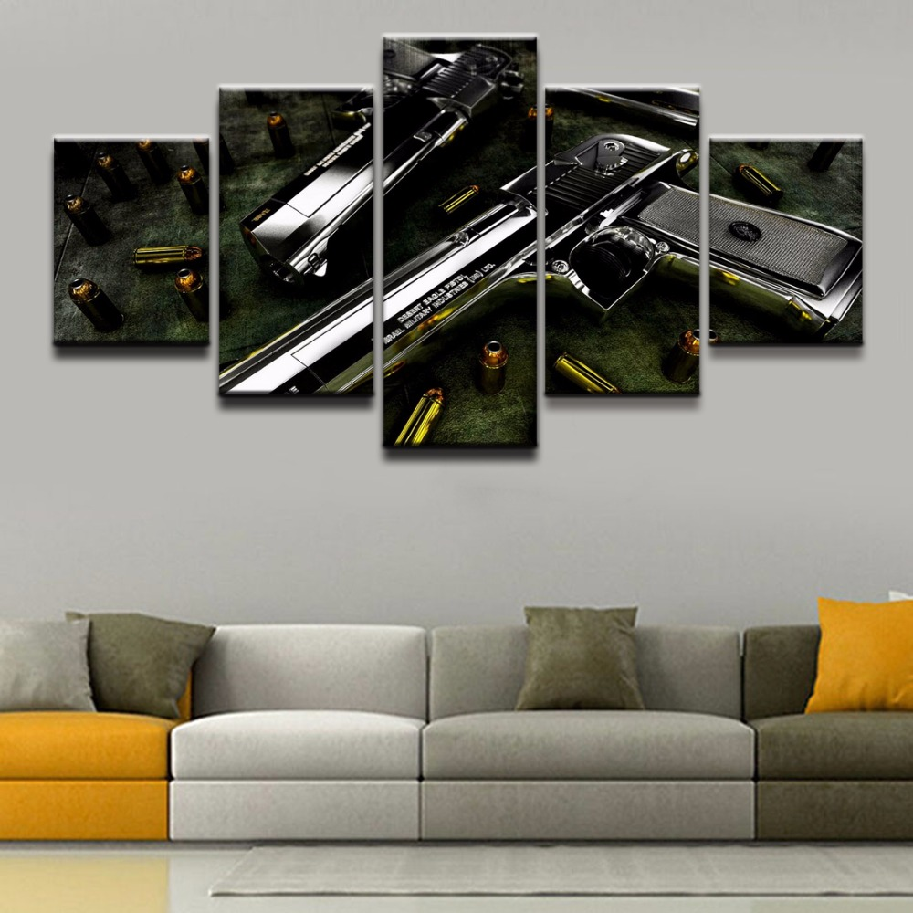 US $6.12 49% OFF|Modular Pictures Canvas Painting Wall Art Poster 5 Panel  Weapons Desert Eagle Modern Printed Artwork Home Decor For Living Room-in  ...