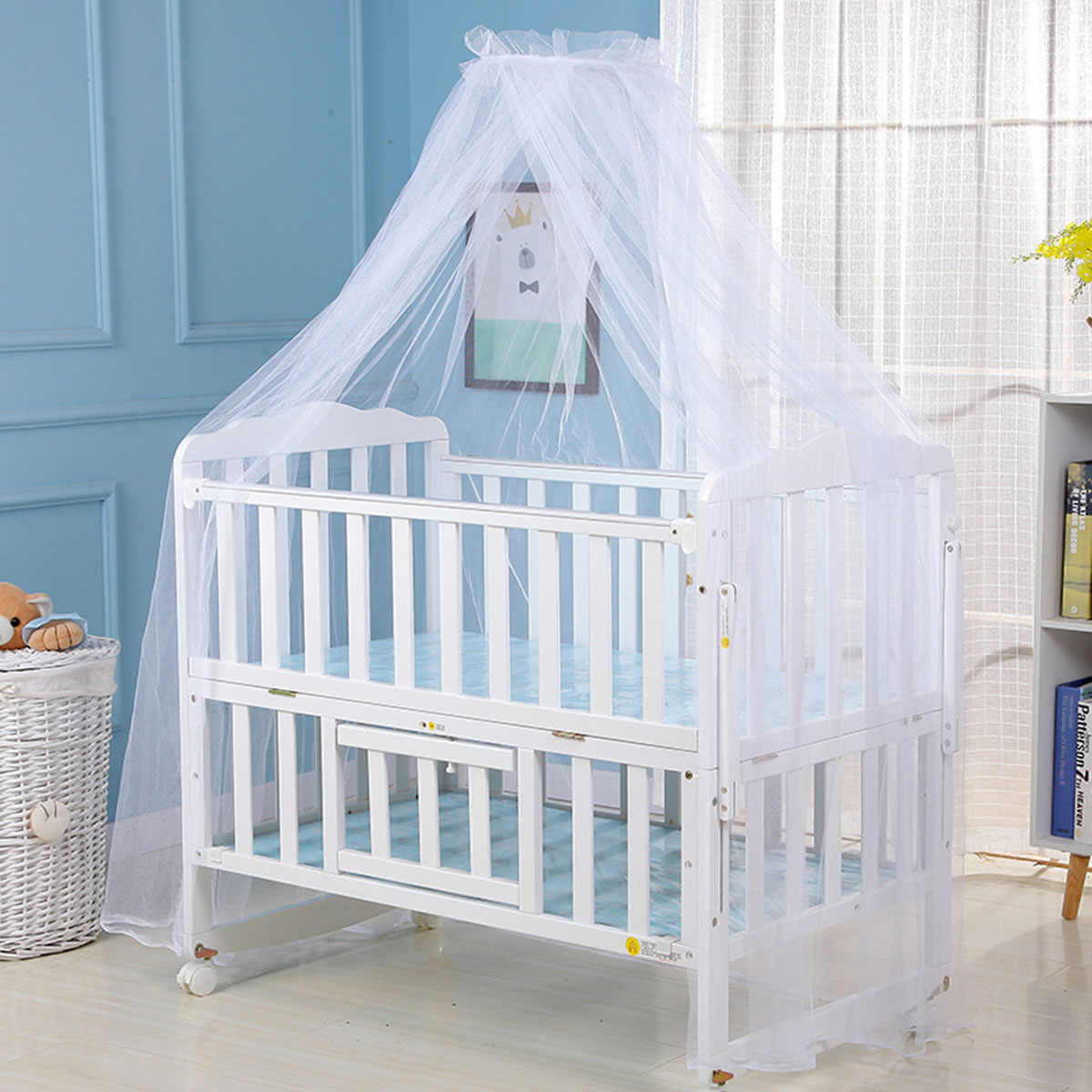 Mosquito Net Hot Selling Baby Bed Mosquito Net Mesh Dome Curtain Net for Toddler Crib Cot Canopy 2019 Blue white Color Dropshipp