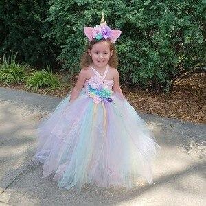 Image 1 - בנות תלבושות פרח חתונת שמלת ילדי unicorn שמלת ילדה טוטו נסיכת שמלת ילדים חמוד שמלות מכיל סרט ZH 1904