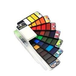 Pigmento dobrável da cor da água do curso para fontes da arte da tração pintura contínua superior 18/25/33/42 da aguarela ajustada com a pena da escova da água