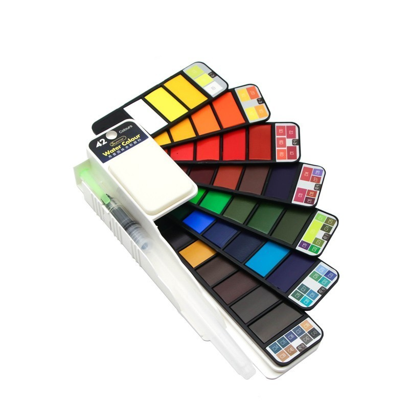 Pigmento dobrável da cor da água do curso para fontes da arte da tração pintura contínua superior 18/25/33/42 conjunto com a pena da escova da água