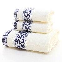 3 Piece/ Set Microfiber Bath Towel Face Towel Set White Bath Sheet Floral Pattern Cotton Soft Luxury Decorative Bathroom Towels