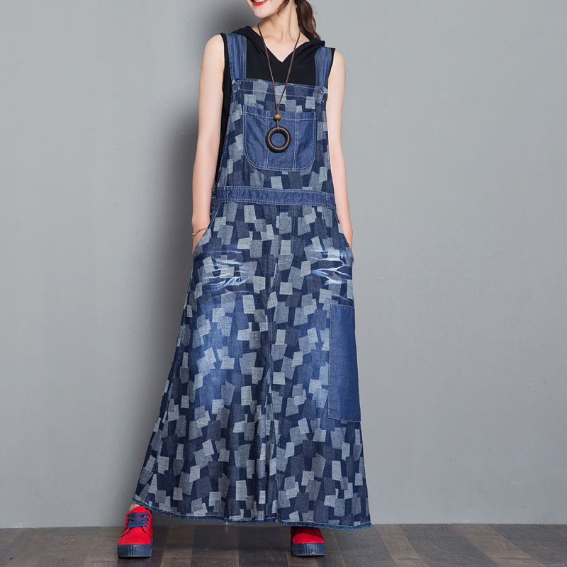 Maxi long Jean Dress Female Denim Overalls Dresses Straps Sleeveless Bib dresses New Denim Vestidos A Line big Hem Plaid Dresses