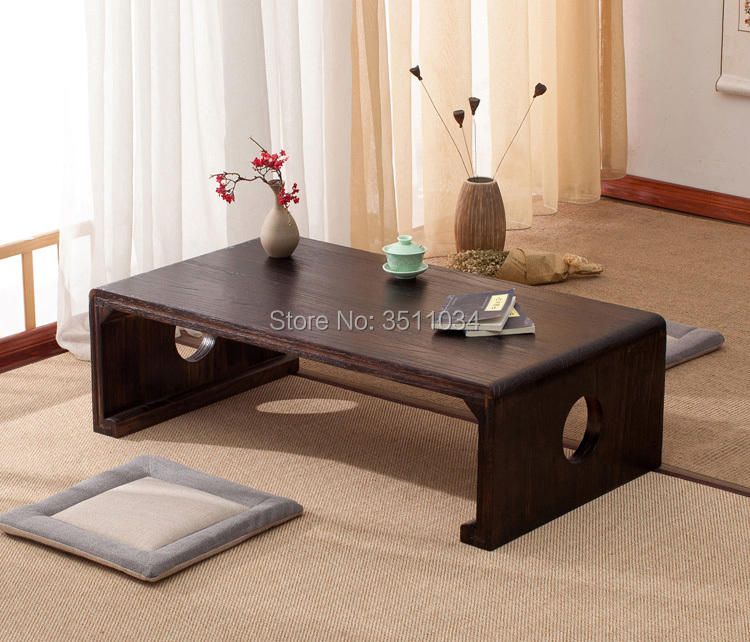 New Japanese Tea Table Rectangle 60x40x30cm Asian Antique Furniture Living Room Oriental Traditional Wooden Floor Low Side Table