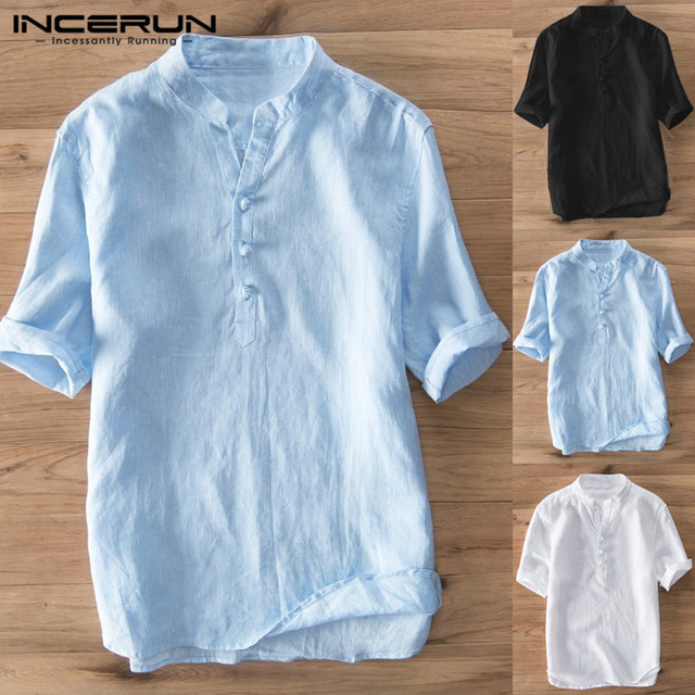 INCERUN Vintage Casual Shirt Men Cotton Stand Collar Solid Streetwear Summer Tops Breathable Short Sleeve Men Brand Shirts 2019