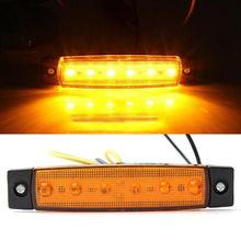 1pc 6LED 트럭 미등 램프 고품질 12V 트럭 보트 버스 트레일러 사이드 마커 미등 표시 등 옐로우 라이트 램프