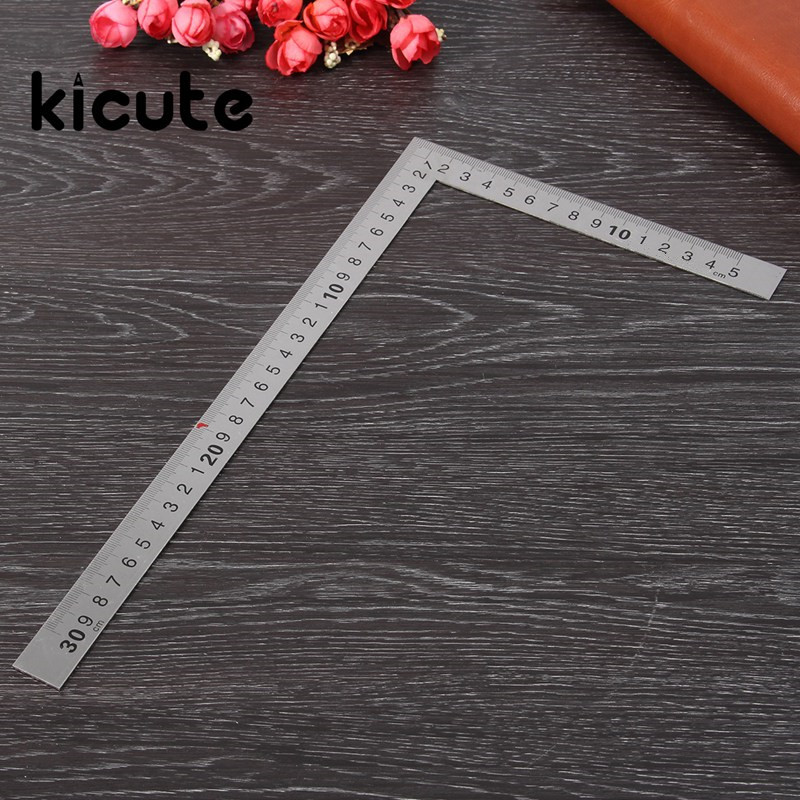Kicute 1pc Modern Straight Stainless Steel 90 Degrees Angle Metric Try Mitre Square Ruler 150x300mm School Office Stationery