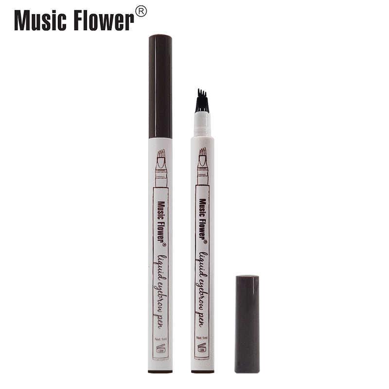 4 garfo microblading sobrancelha tatuagem caneta música flor esboço fino sobrancelha líquido à prova dwaterproof água sobrancelha lápis borrão-prova 3 cores
