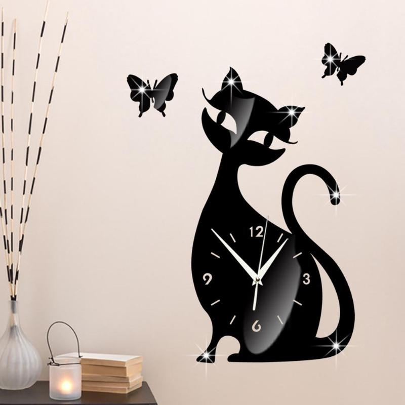 Acrylic Mirror Cute Cat Clock Black Wall Clock Sticker Modern Design Home Art Decor Watch Self-adhesive Christmas Gift