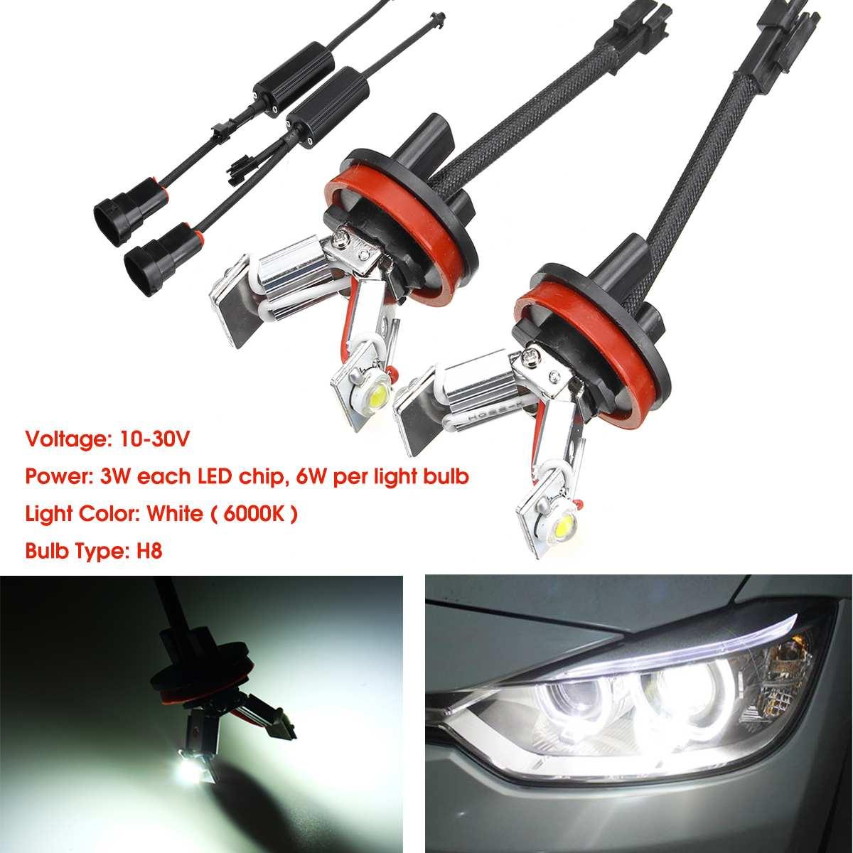 2Pcs LED Angel Eyes Halo RING Light Lamp H8 Bulb For BMW E82 E87 E90 E91 E92 M3 E93 E60 E61 E63 E70 X5 E71 X6 E89 Z4 6000K