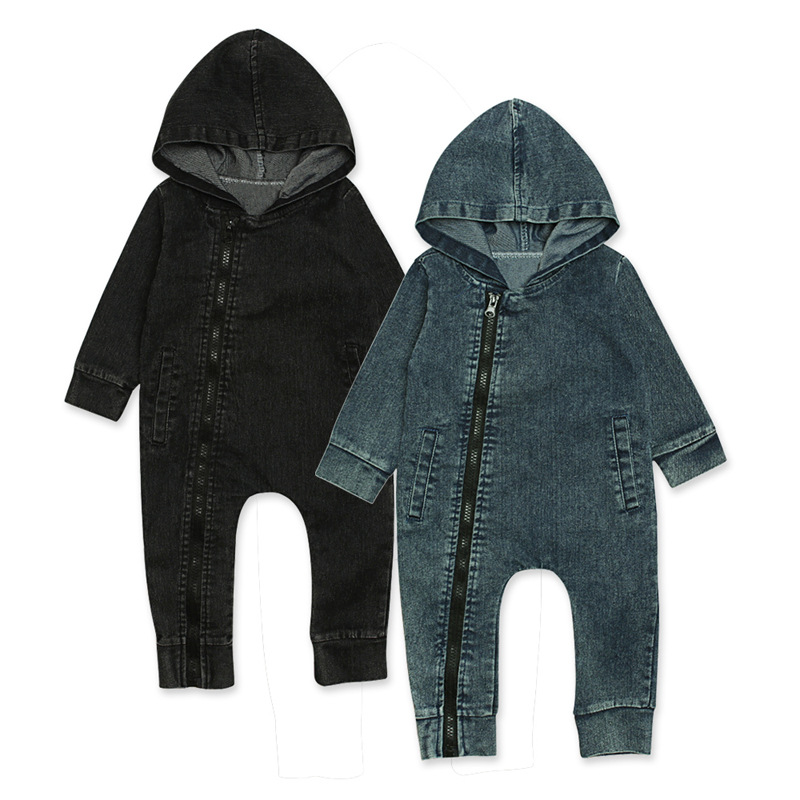 Infant Newborn Baby Boy Girl Hooded Long Sleeve Zipper Jumpsuit Solid Denim   Romper   Clothes Outfits