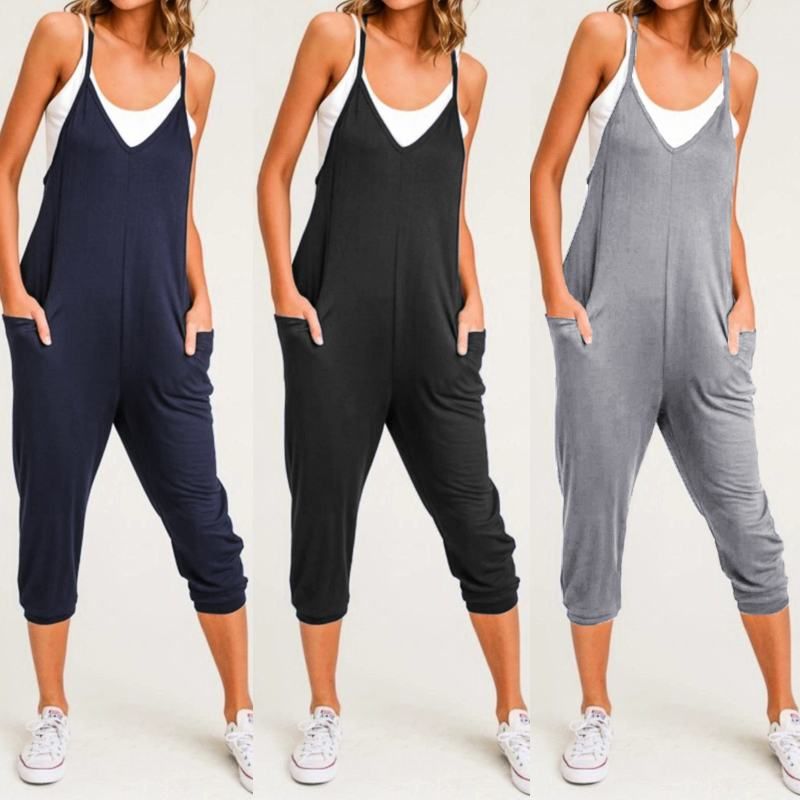 Celmia 2019 Summer Beach Sexy Sleeveless Jumpsuits Women Casual Straps Rompers Loose V Neck Harem Pants Playsuits Overalls S-5XL