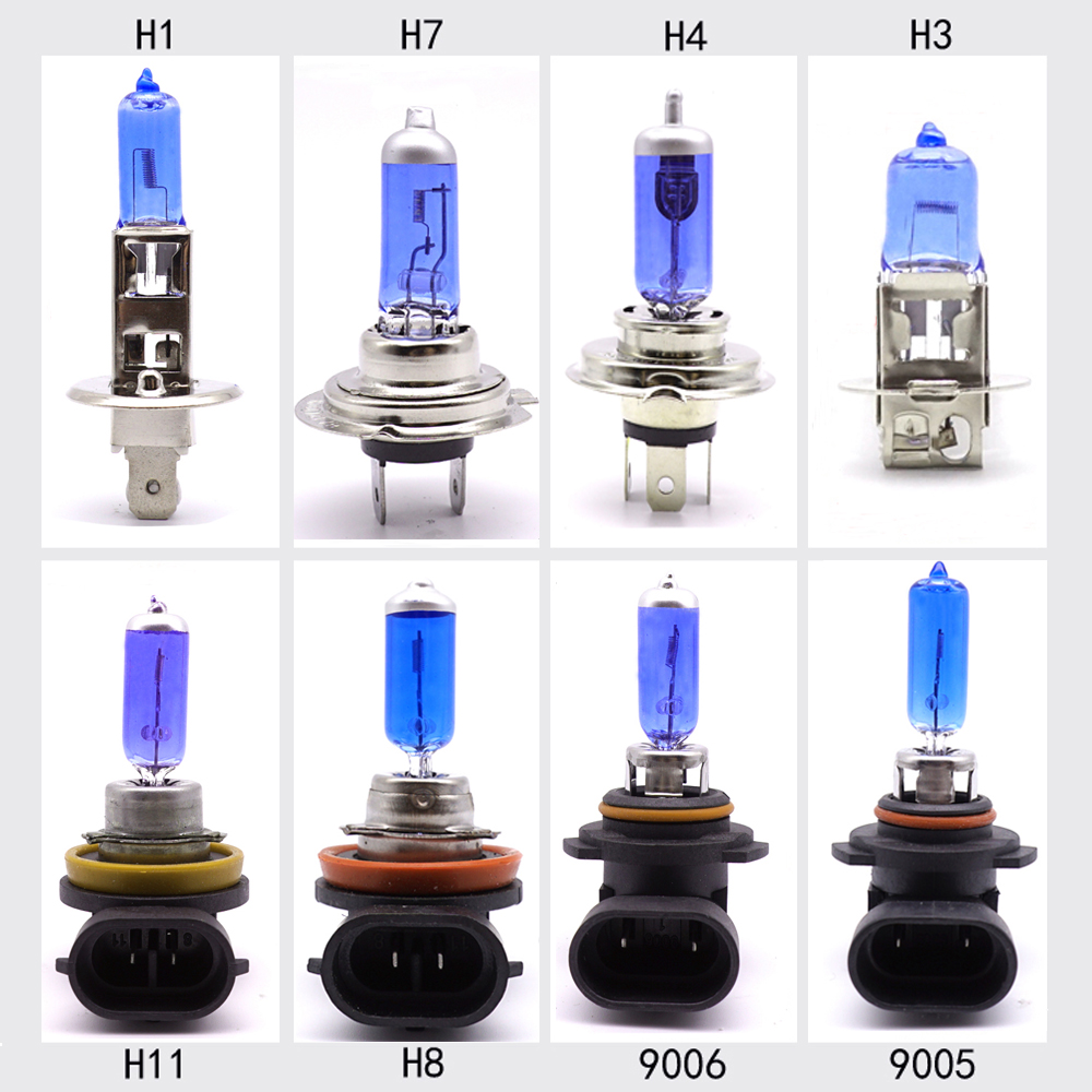2pcs White Halogen Lights Bulbs HIR2 9012 H1 H3 H4 HB2 H7 H8 H11 9005 HB3 HB4 9006 H15 55W 100W Quartz Glass Car Headlight Lamp