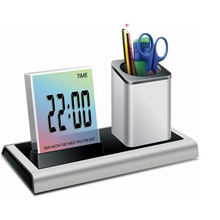 Desk Pen Holder Pencil Container With Calendar Timer Lcd Digital Alarm Clock Organizer