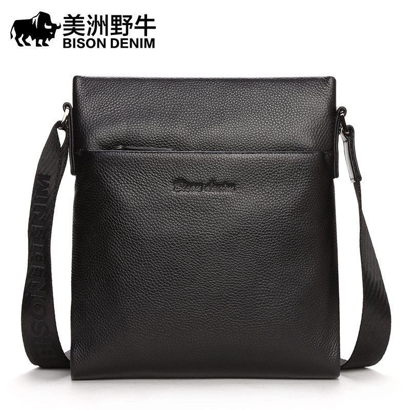 BISON DENIM Brand Men Shoulder Bags Genuine Leather Briefcase Business Casual Handbag Men's Messenger Travel Bag cossloo promotion authentic brand composite leather bag men s travel bags casual male shoulder briefcase for business man