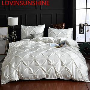 Image 1 - LOVINSUNSHINE Juego de cama de edredón de seda tamaño King, lino, doble flor