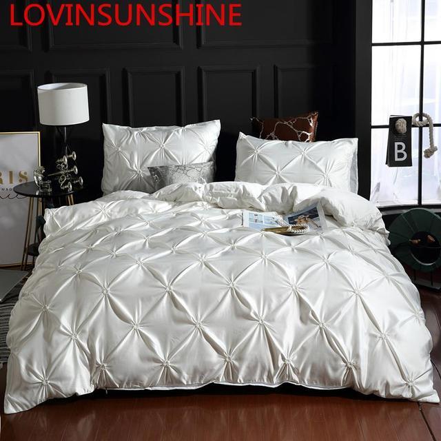LOVINSUNSHINE Juego de cama de edredón de seda tamaño King, lino, doble flor