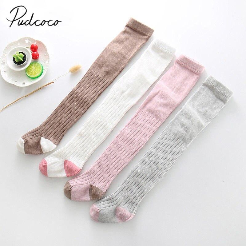 2018 Gloednieuwe Peuter Baby Kids Meisje Herfst Winter Warm Knie Hoge Panty Solid Knit Warm Been Warmer Kousen Leeftijd 1-6y