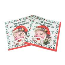 20 шт печатные салфетки с темой Рождества красочные одноразовые Санта Клаус Бумажные полотенца бумажные салфетки для детей Рождественская вечеринка взрослых