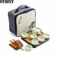 Portable Travel Kung Fu Tea Set Ceramic Chinese Teapot Porcelain Teaset Gaiwan Tea Cups of Tea Ceremony Tea Pot With Travel Bag