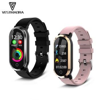 fbbda7200bc4 VESTMADRA pulsera inteligente para mujer, pulsera de Fitness, Monitor de  presión arterial, actividad, rastreador de Fitness, reloj deportivo para ...
