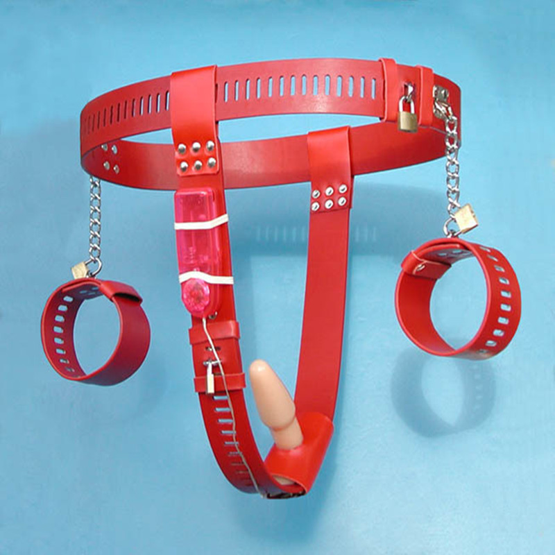 T-type pu femelle chasteté ceinture menottes vibrateur plug Anal avec serrure sexe bdsm bondage jouets pour adultes sex toys pour couples