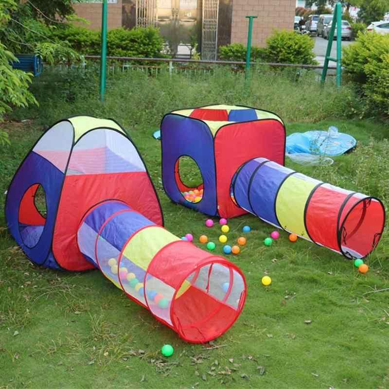 4 pièces bébé ramper Tunnel tente maison enfants intérieur extérieur jouer vague océan balle piscine fosse jouets pliable enfants jouer tentes maison de jeu
