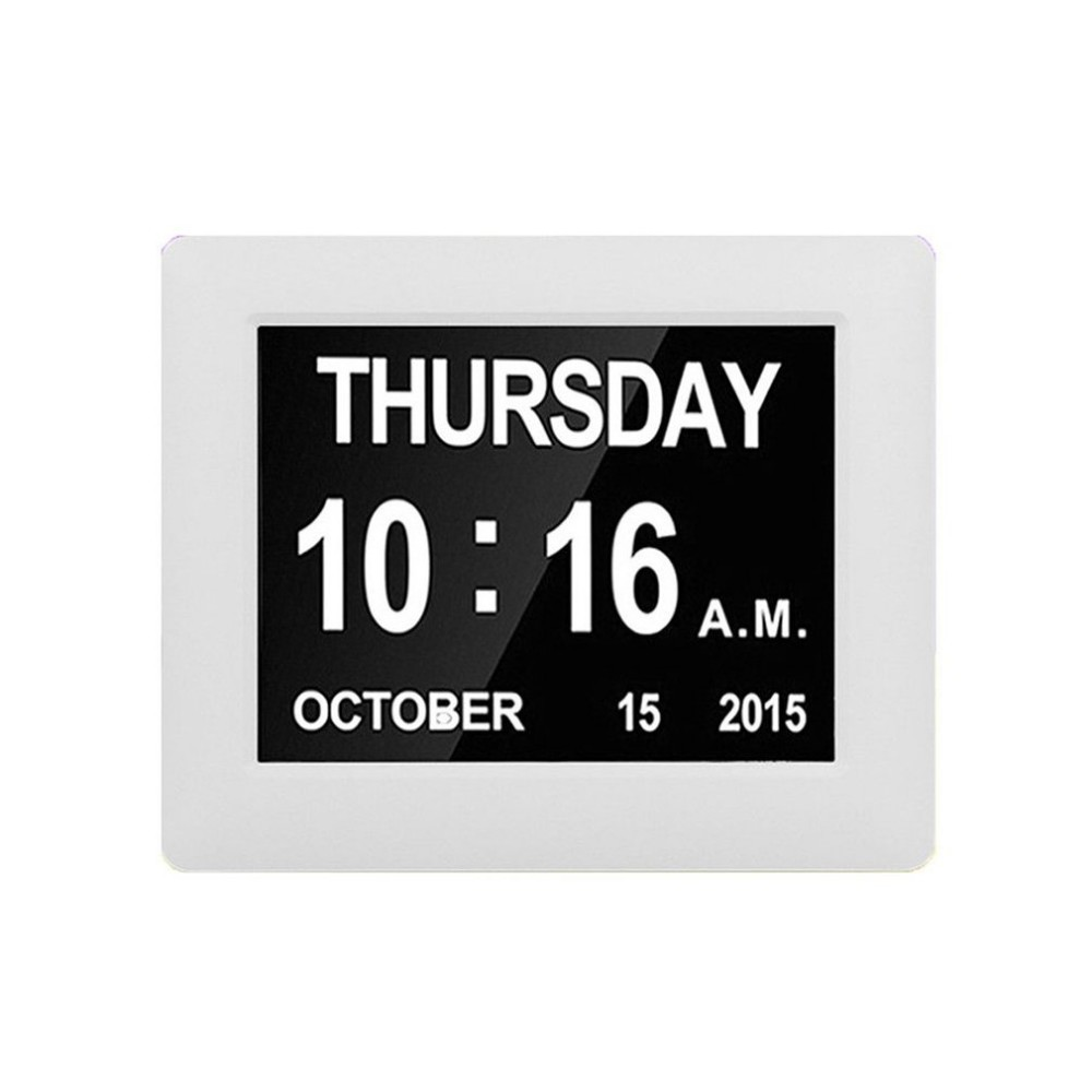 8 Digital Day Clock Smart Calendar Extra Large Non Abbreviated Day Month For the Elderly Especially Dementia Vision Impairment