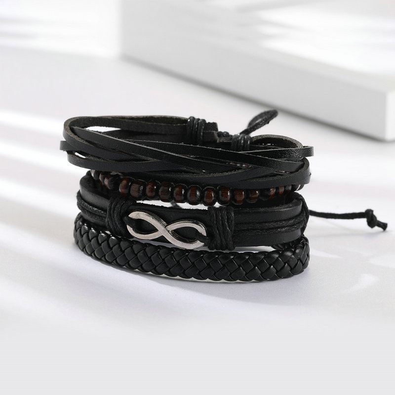 4 Pcs Leder Armband Holz Perlen Charm Armband Unendlichkeit Armreif Modeschmuck Für Männer Und Frauen Gp0345