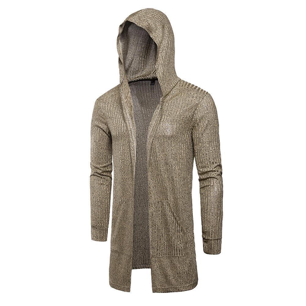 Sweater Cardigan Men 2018 Male Brand Casual Slim Sweaters Men Solid Hooded Pockets Men's Sweater Plus Size XXXL 5