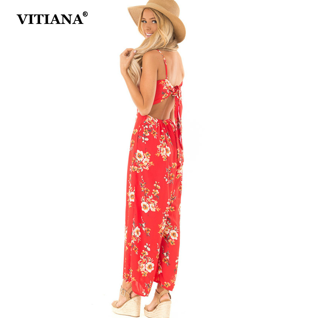 VITIANA Women Beach Chiffon Jumpsuit Summer Female 2019 Lace Up Backless Printing Strapless Sexy rompers womens jumpsuits