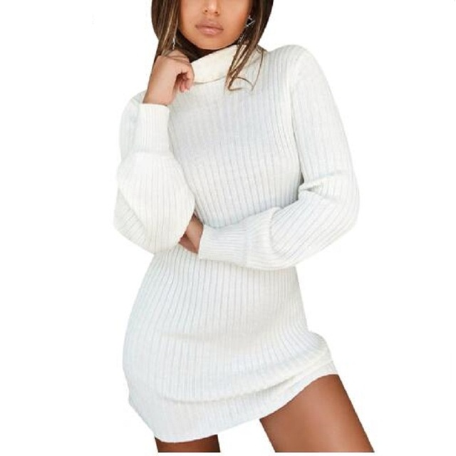 6b9c7f17992 Long Sleeve Turtleneck Knitted Dress Women Casual New Autumn Winter Sweater  Dresses Female Sexy Elegant Pullover Mini Dresses