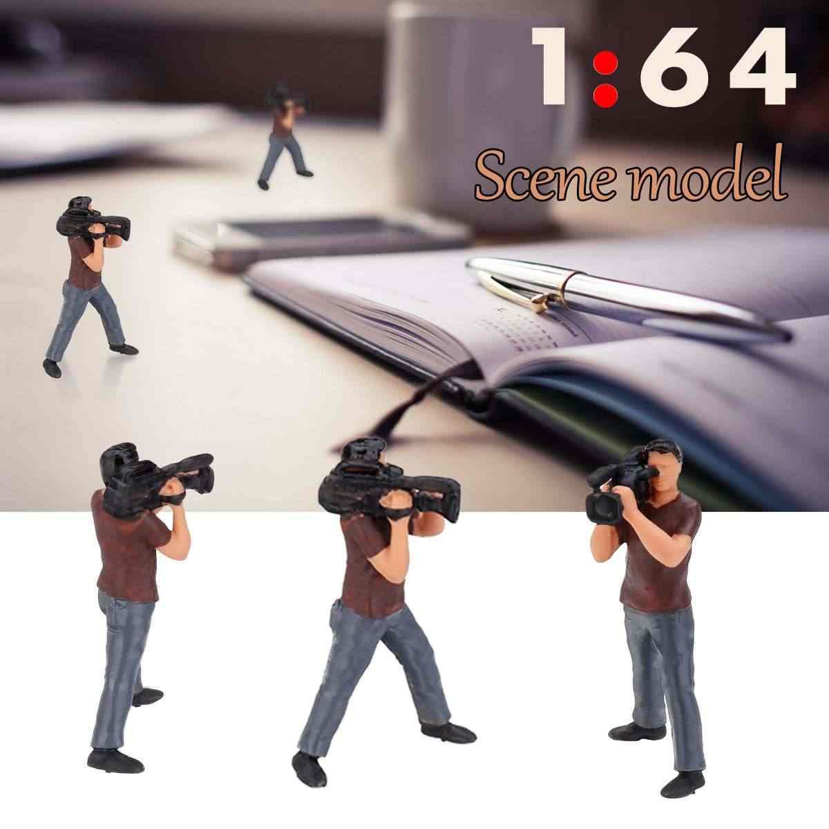 1: 64 Berdiri Celana Paparazzi Fotografer Model Gambar Orang Model Skenario Set untuk Kotak Korek Api Mainan Anak Group dengan Kotak