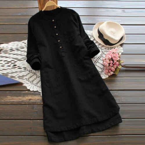Летние платья 2019 нового размера плюс, женское летнее Повседневное платье с длинным рукавом и круглым вырезом, однотонное свободное простое платье, размер S-3XL