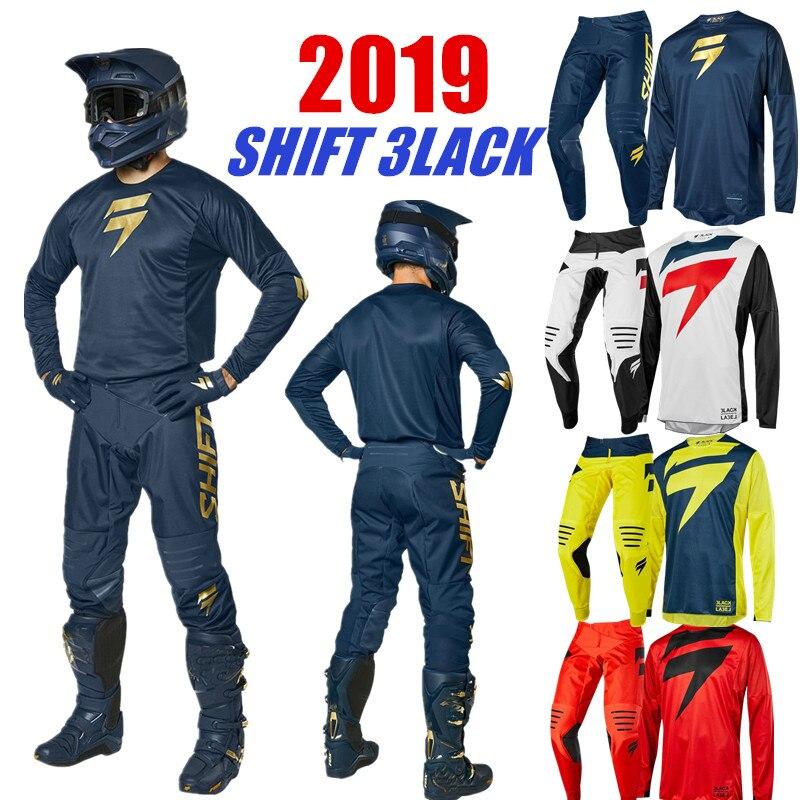 シフト3lack MxジャージとパンツトップATV BMXモトクロスコンボレーシングダートバイクスーツ4色オートバイ服シフト赤と黒のモトクロスギア