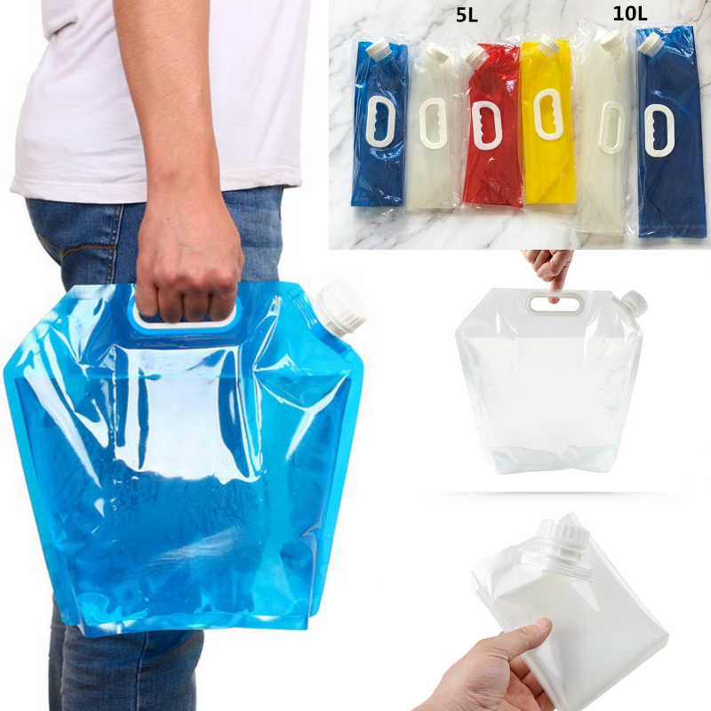 3/5/10L Foldable Water Bag Outdoor Sports Camping Hiking Juice Storage Bags Picnic Milk Wine Container Lifting Carrier Barbecue