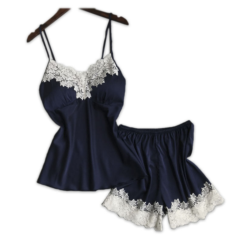 3d2afef01a48 Womens Ladies Sexy Casual Lingerie Sleepwear Satin Silk Babydoll Lace  Nightwear Pajamas Set Silver Red Navy Blue-in Pajama Sets from Underwear    Sleepwears ...