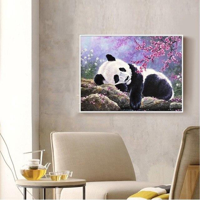 Huacan Diamond Embroidery Animal Full Square Picture Mosaic Rhinestone Home Decoration Diamond Painting Panda