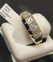 14 k Золотое кольцо с бриллиантом для Для женщин присоединиться к вечерние драгоценный камень Перидот Anillos де Свадебные Diamante Обручение ювели...