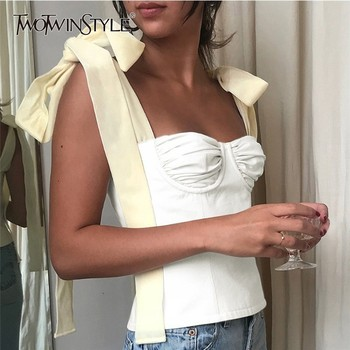 TWOTWINSTYLE White Crop Tops Female Sleeveless Bandage Short Strap Vest For Women Vintage Fashion Korean 2020 Summer Tide - discount item  49% OFF Tops & Tees