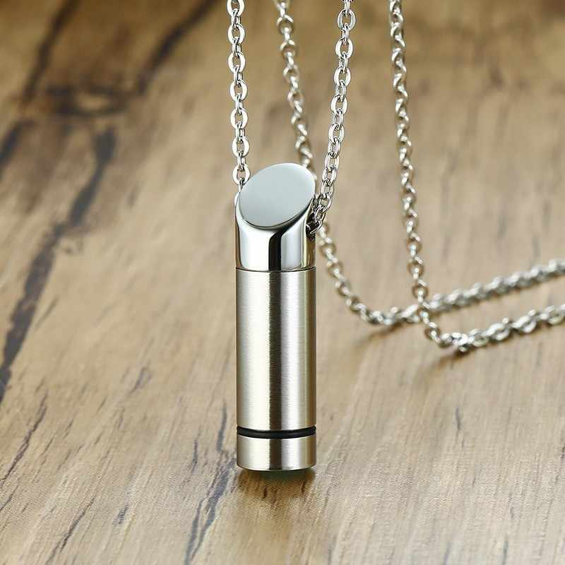 Capsule Pendant Women Men Necklace Open Cylindrical Silver Color Stainless Steel Remembrance Jewelry