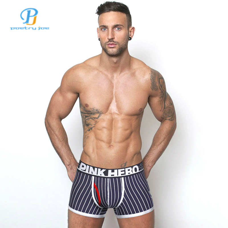 Pink Heroes Men Underwear Boxers Cotton Stripes Sexy Men Boxer Underwear Brand Clothing Men Flat Panties Cueca Short Homme Gay