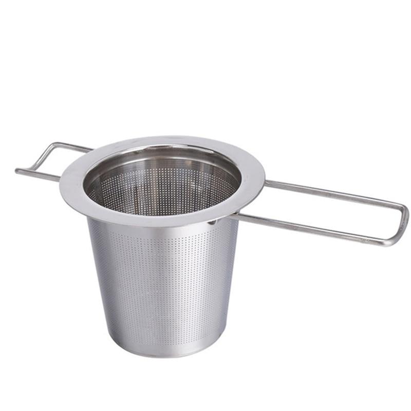 1pc Stainless Steel Tea Infuser Filter Long Handle Folding Tea Strainer Reusable Tea Filter Basket for Brewing Loose Leaf Tea