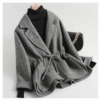 2018 New Fashion Lace Up Short Woolen Coat Autumn Winter Women Tweed Plaid Coats Jacket Adjustable Waist Loose Outerwear